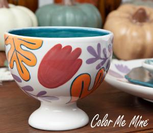 Oxnard Floral Pedestal Bowl